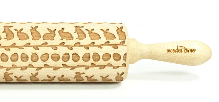 Easter bunnies and Willow - Big size Rolling Pin, Engraved Rolling Pin, Rolling Pin, Embossed Cookies, Wooden rolling pin, Nudelholz by ArtWoodenCorner on Etsy