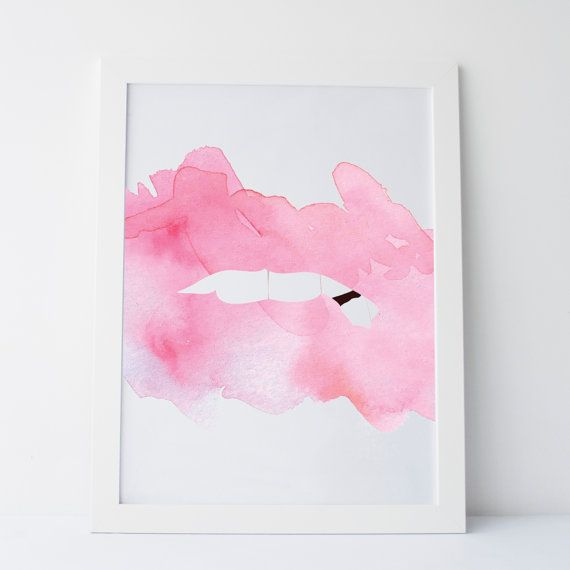 Printable Art Abstract Lips Two Abstract Lips by elemenopeedesign