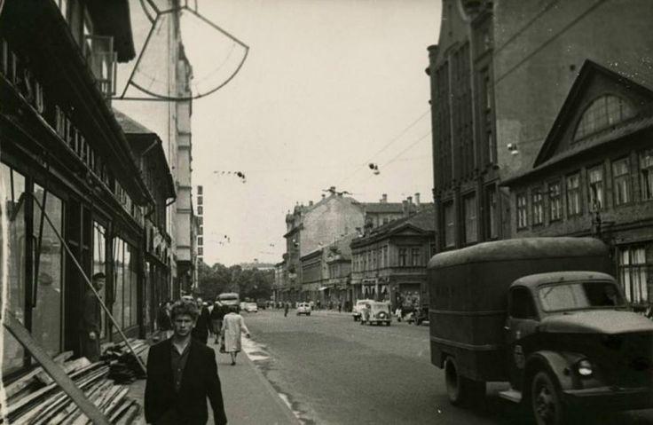 1960-tie, Brīvības iela, topošās viesnīcas Latvija apbūves kvartāls.
