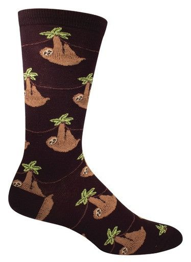 Sloths hanging around. Whoa, slow down there buddy.  Fits men's shoe size 8-12.5.