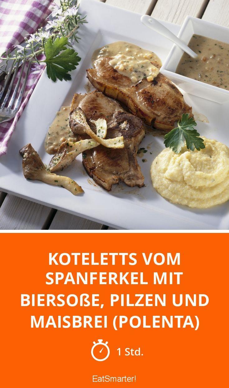 Koteletts vom Spanferkel mit Biersoße, Pilzen und Maisbrei (Polenta) - smarter - Zeit: 1 Std. | eatsmarter.de