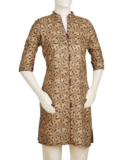 Women's Silk Printed Mini Kurta
