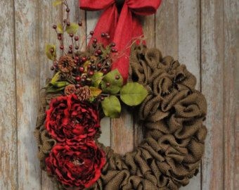 Red Peony Burlap WreathChristmas Burlap by WhimsyChicDesigns