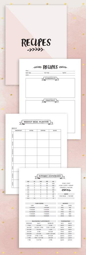 Make your own Recipe Binder Kit. Editable PDF with Recipe Pages, Conversion Chart and Meal plans!