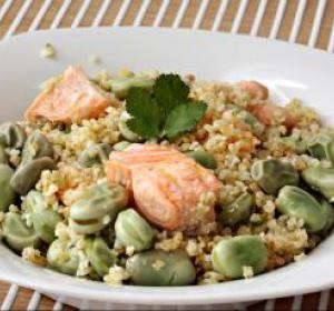 Bulgur with salmon and broad beans | Recipes | Pinterest