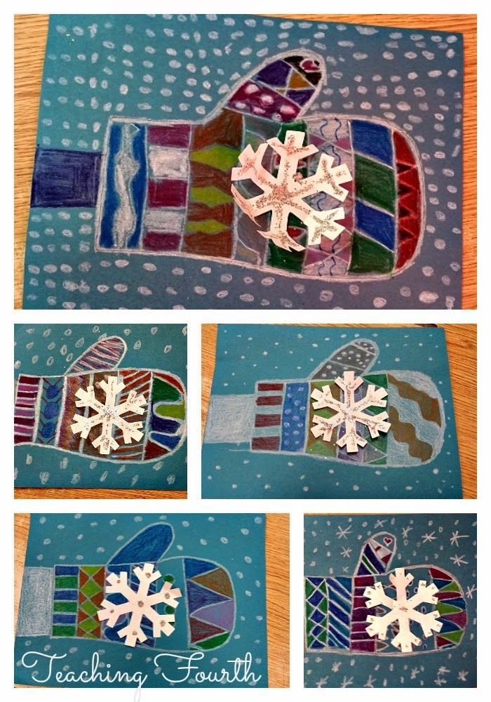 Mitten Art- easy winter art project with just a few supplies! Your students will enjoy making these mittens
