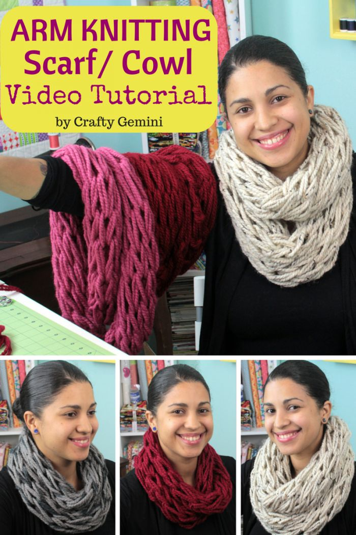 The best arm knitting video tutorial for making an infinity scarf or cowl. Video tutorial by @CraftyGemini featuring @LionBrandYarn's Wool-Ease Thick & Quick yarn.