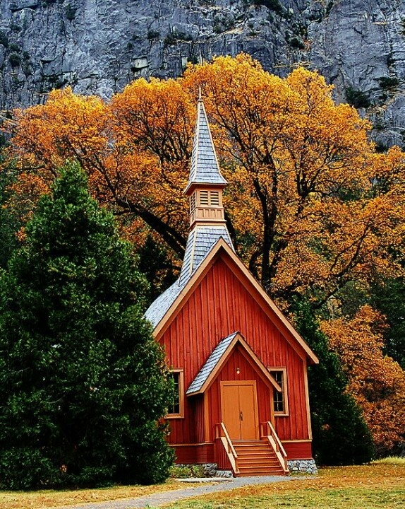 Country Church - love the color contrast on this church.