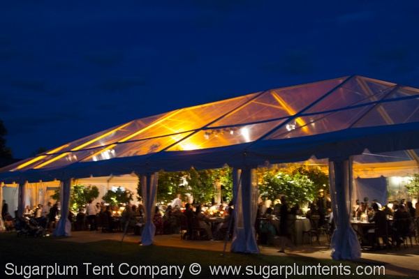 Night Glow, #tent lighting, #wedding tent, #clear tent, #clear top tent