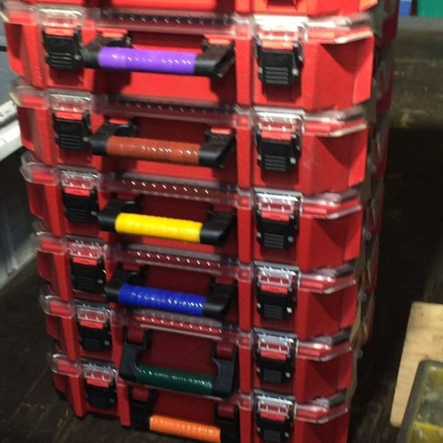hvac_artisanThis is my current stack of @milwaukeetool #jobsiteorganizers. They work great and the color coded handles help differentiate what is in each without having to read labels. @worksmarternotharderig **************************** #storage #organizers #organization #jobsite #milwaukeetool #fasteners #parts #toolstorage #worktruck #plumbing #hvac #electrical #carpentry #contractors