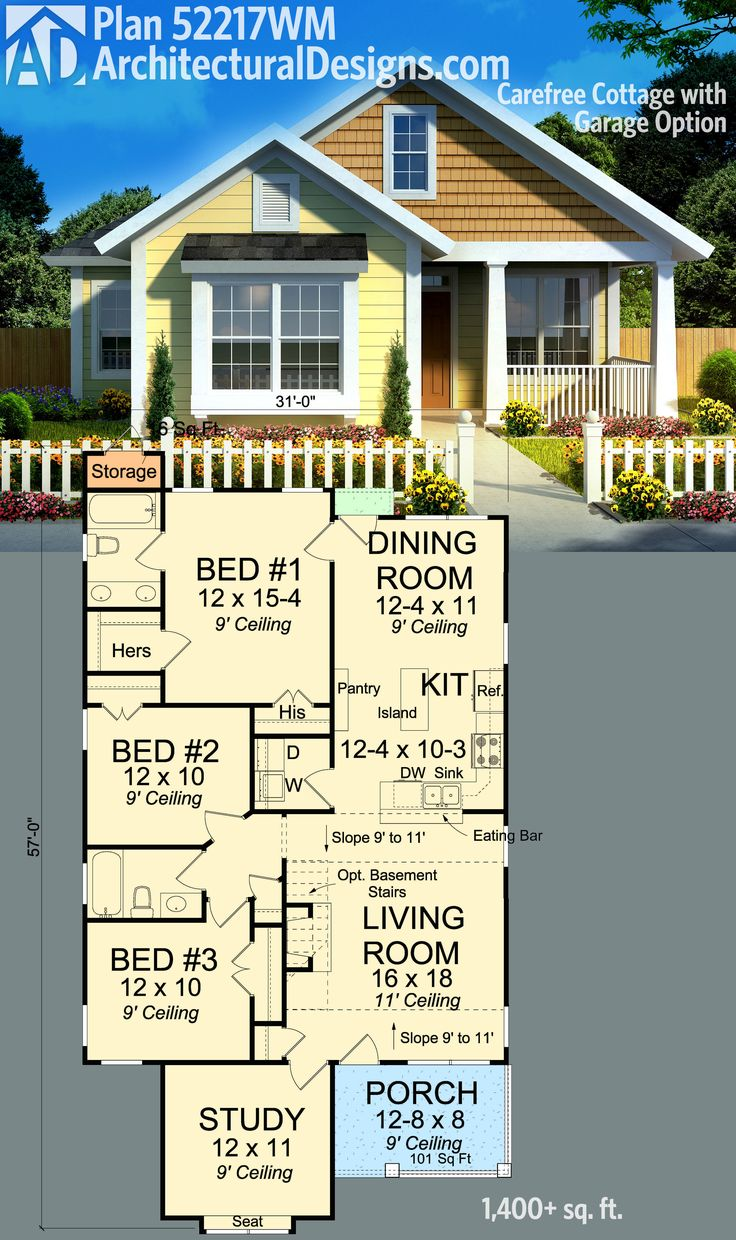 Architectural Designs Cottage House Plan 52217WM gives you over 1,400 square feet of living in a home only 31' wide. And there is a sister plan with an attached garage. Ready when you are. Where do YOU want to build?