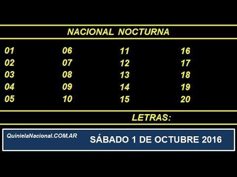 Quiniela - El Video oficial de la Quiniela Nocturna Nacional del día Sabado 1 de Octubre de 2016. Info: www.quinielanacional.com.ar