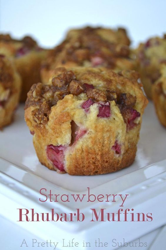 Strawberry Rhubarb Muffins {A Pretty Life}--Lisa made these. Super Yummy! Used whole wheat flour instead.