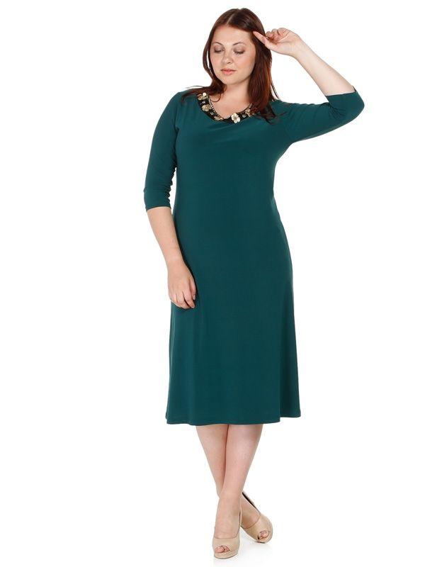 Nidya Moda - Büyük Beden Bahar Yaka Sandy Elbise-4076Y