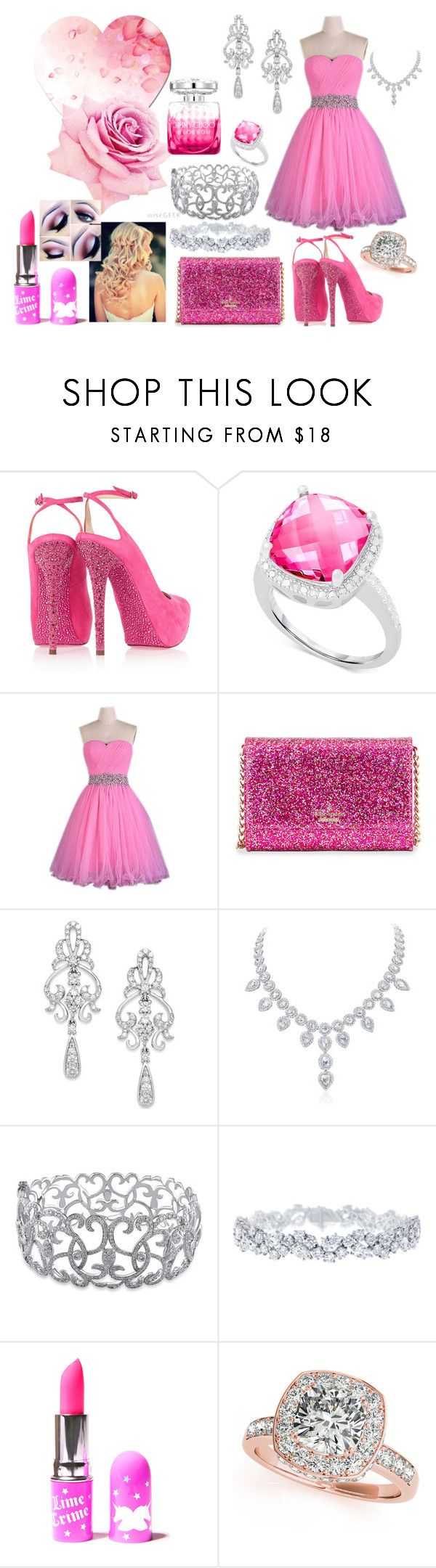 """Pretty inPINK For my Date With Sam Tonight"" by sgraham262 ❤ liked on Polyvore featuring Jimmy Choo, Victoria Townsend, Kate Spade, Wrapped In Love, Ice, Harry Winston, Lime Crime and Allurez"