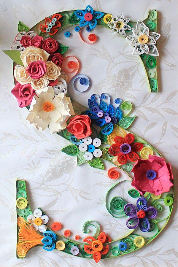 Larni Williams from Cardiff, UK is a magnificent paper quilling designer. Here, she designs an excellent example of quilling typography.