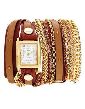 La Mer Arizona Duo Chain & Stud Brown Watch