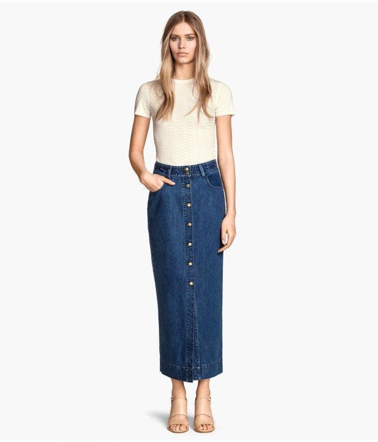 Denim Blue H And M Long Skirt