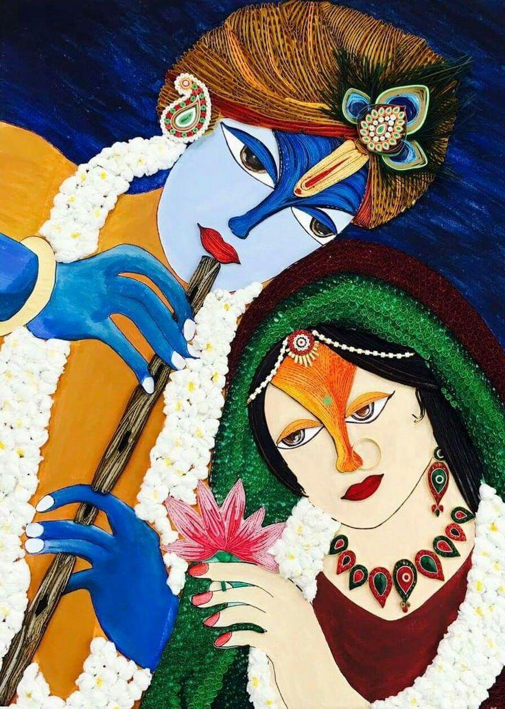 Radha Krishna - The Eternal bond of Love Paper quilling canvas wall art 18×24 .