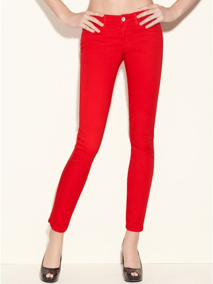 Guess red skinny jeans