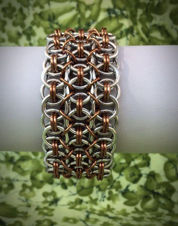 Breite Spitze Chainmaille Armband - Silber und Bronze - Ready to Ship