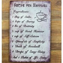 Emaljeskilt Recipe for Happiness - NiceWall.dk
