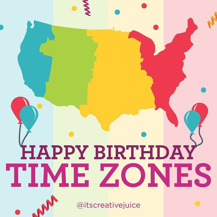 Happy Birthday Time Zones! On this day in 1883 the Eastern Central Mountain and Pacific times zones were introduced to the US! #happytimezone #time #timezone #happybirthday #graphicdesign #colorful #map #central #pacific #mountain #design #color #getcreative #thejuicers