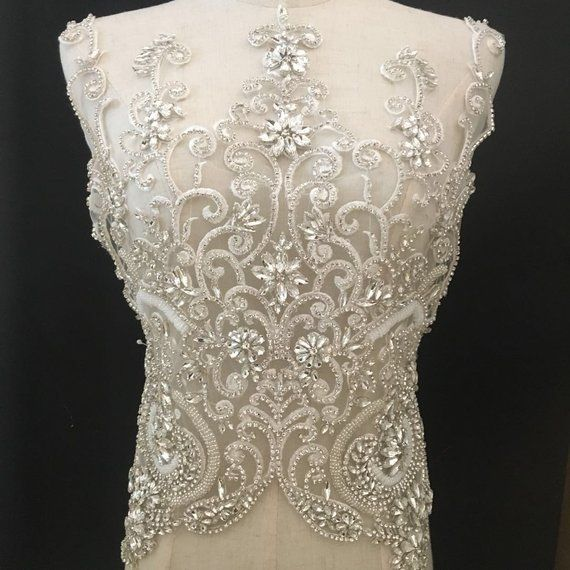 b3d12314f5 large Rhinestone bodice applique crystal applique crystal | Wedding ...