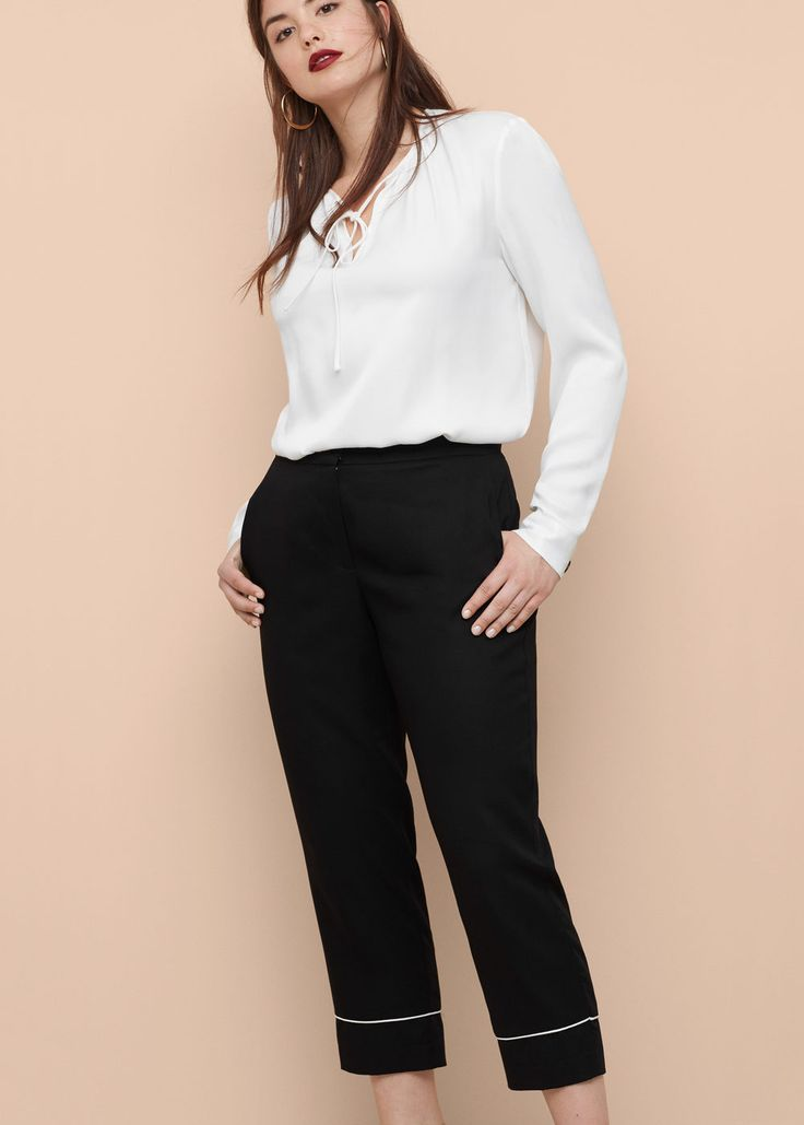 Miękkie spodnie w stylu piżamowym   VIOLETA BY MANGO