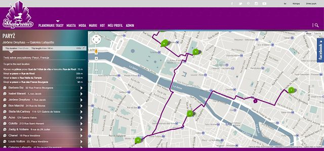 "If this shopping route seems to be too long for you - you can easily shorten it (or even change by adding more boutiques you want to visit). Just log in to your account and follow the link ""Create a route based on this one"" above the list of shops. http://goo.gl/3JTstq"