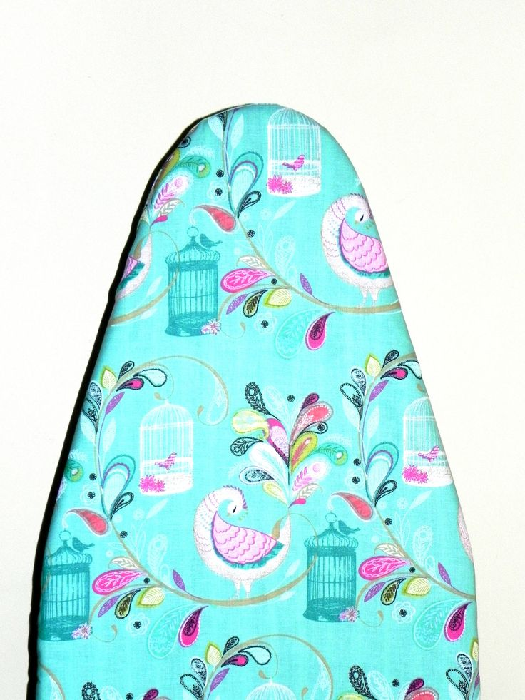 Tabletop Ironing Board Cover - Peacocks and Tropical flowers in turquoise and pink  -  Laundry and Housewares by GaranceCouture on Etsy