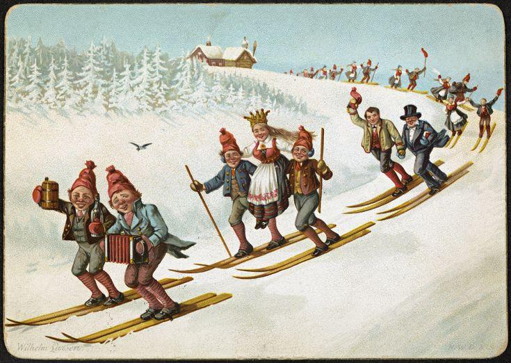 https://flic.kr/p/tQ7LUX | Julekort med bondebryllup og ski | Beskrivelse / Description: overrekkelseskort / kartongkort Dato / Date: ca. 1880-1890 Kunstner / Artist: Wilhelm Larsen (1854-1893) Utgiver / Publisher: N. W. D. & S. Digital kopi av original  / Digital copy of original: kartongkort, farge Eier / Owner Institution: Nasjonalbiblioteket / National Library of Norway Lenke / Link: www.nb.no Bildesignatur / Image Number: blds_07475