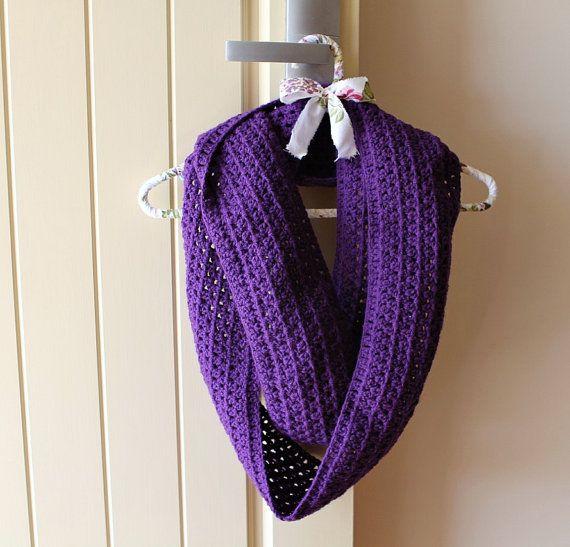 Infinity scarf, dark purple, by SqueezeCuddles