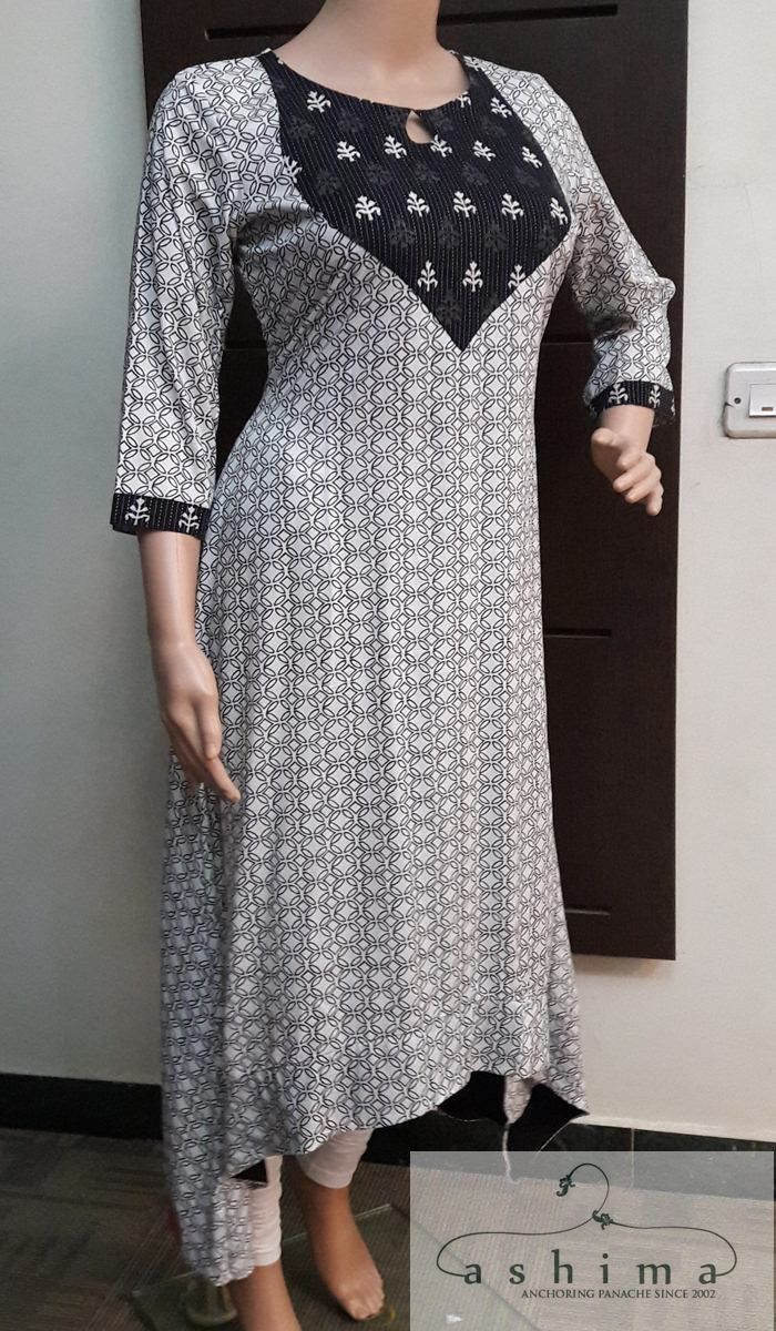 Code:2911176 - Price INR:1600/- , Printed Rayon Hig-Low Kurti.