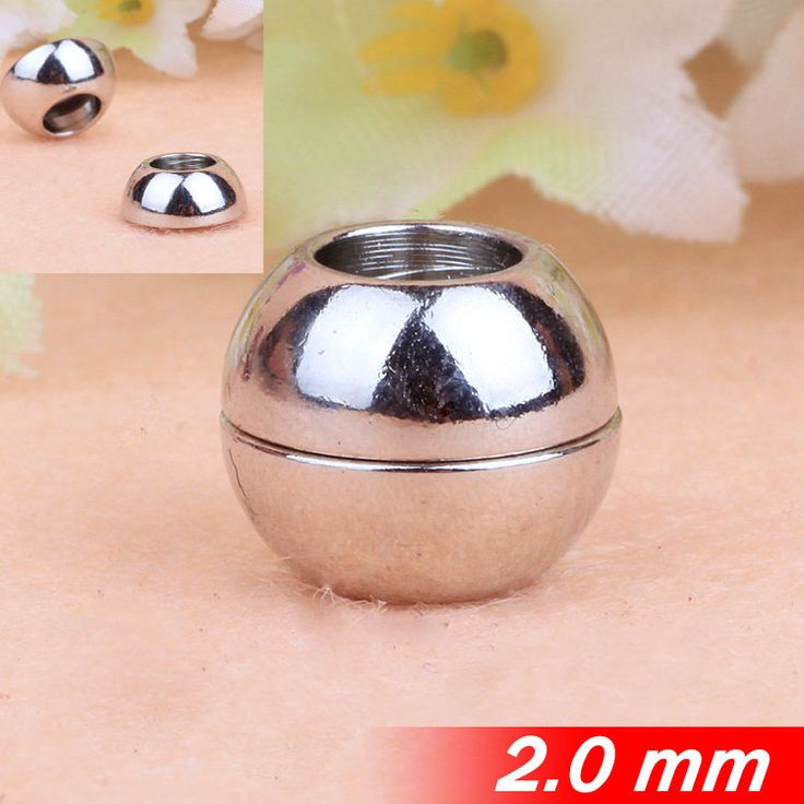Металлической меди для 2 мм ожерелье браслеты круглые кожаные шнуры веревки со сферической головкой магнитные застежки пряжки горячей родием