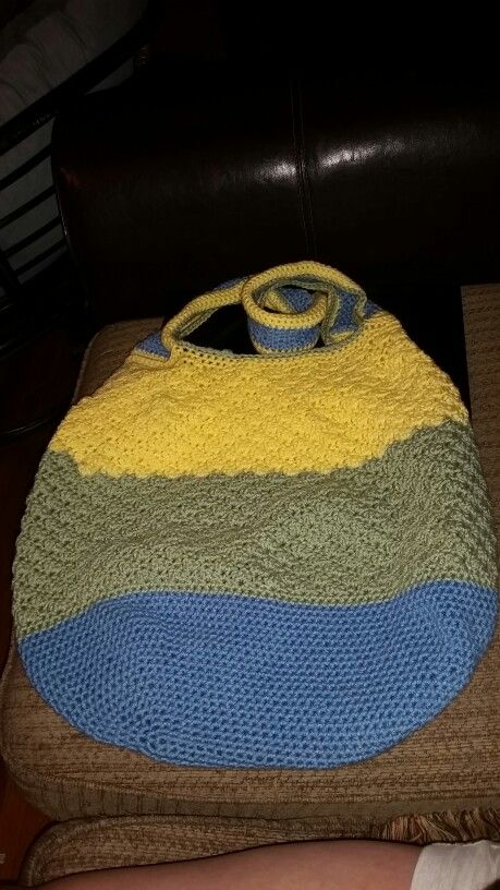 "My ""hospital bag"" I couldn't find a pattern that I liked so I just made up my own:) 2 days and very sore forearms."