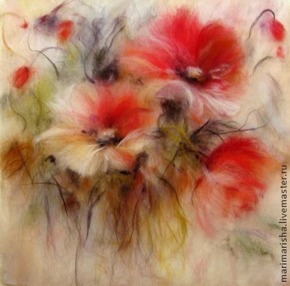 Картина из шерсти Цветочки аленькие