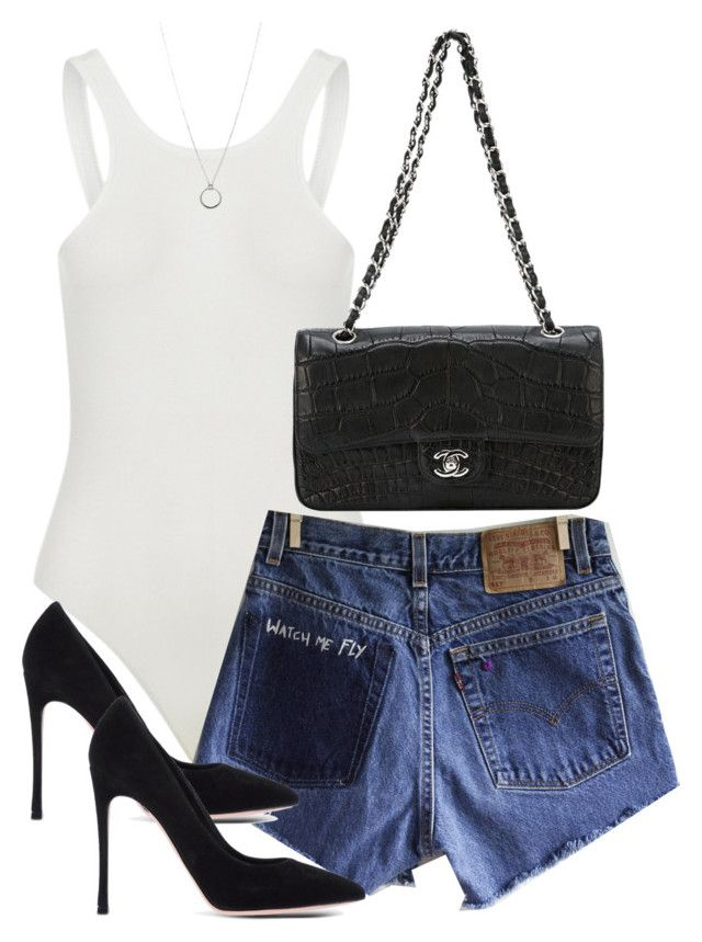 """Untitled #4400"" by theeuropeancloset ❤ liked on Polyvore featuring Levi's, Gianvito Rossi, Chanel and FOSSIL"