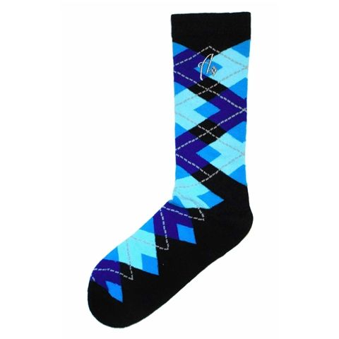 Mens Dress Sock - Argoz Socks - Black Blues Argyle