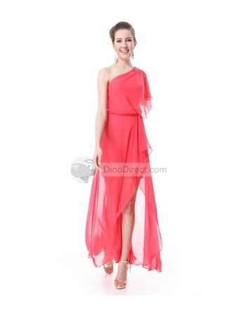Amylinda Chiffon Ruffle One Shoulder Ankle Length Asymmetric Bridesmaid Dress - DinoDirect.com