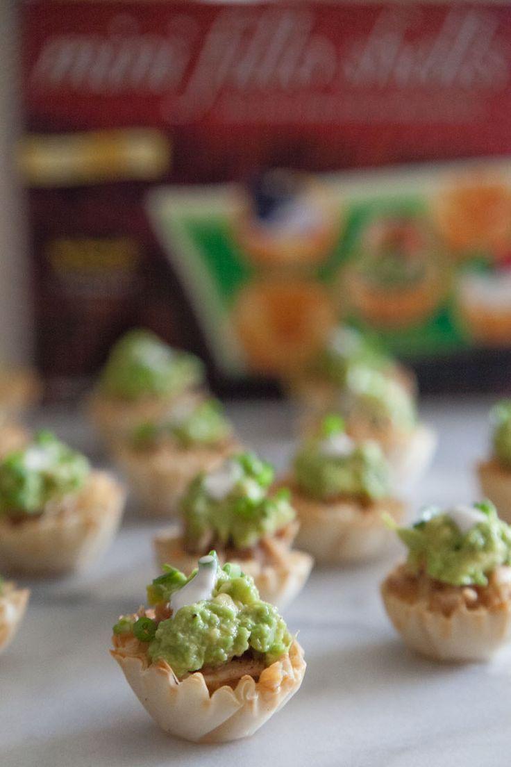Mini Chicken Guacamole Tostadas- -#appetizers