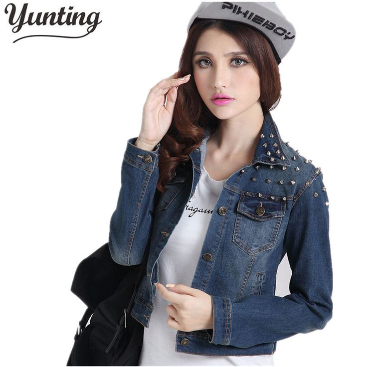 2017 Women Denim Jacket Vintage Jeans Jacket For Girl Spring Long Sleeve Jeans Coats Slim Patchwork Outwear female rivets Coat #Affiliate