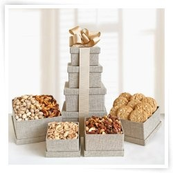 Natural Tower of Nuts Gift Basket