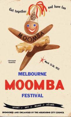 Melbourne Moomba Festival poster-Moomba (também conhecido como o Festival Moomba), realizada anualmente em Melbourne, é o maior festival da Austrália comunidade livre [carece de fontes] e uma das mais longas festivais comunitários corrida da Austrália. [Carece de fontes] É comemorado durante o longo fim de semana do Dia do Trabalhador (mais de quatro dias, a partir de sexta-feira para a segunda-feira de março). Moomba é culturalmente importante para Melbourne