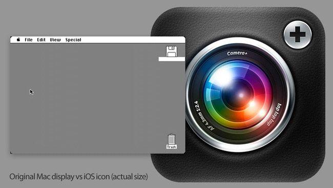 Comparativa del Mac Original y un solo ICONO del iPad