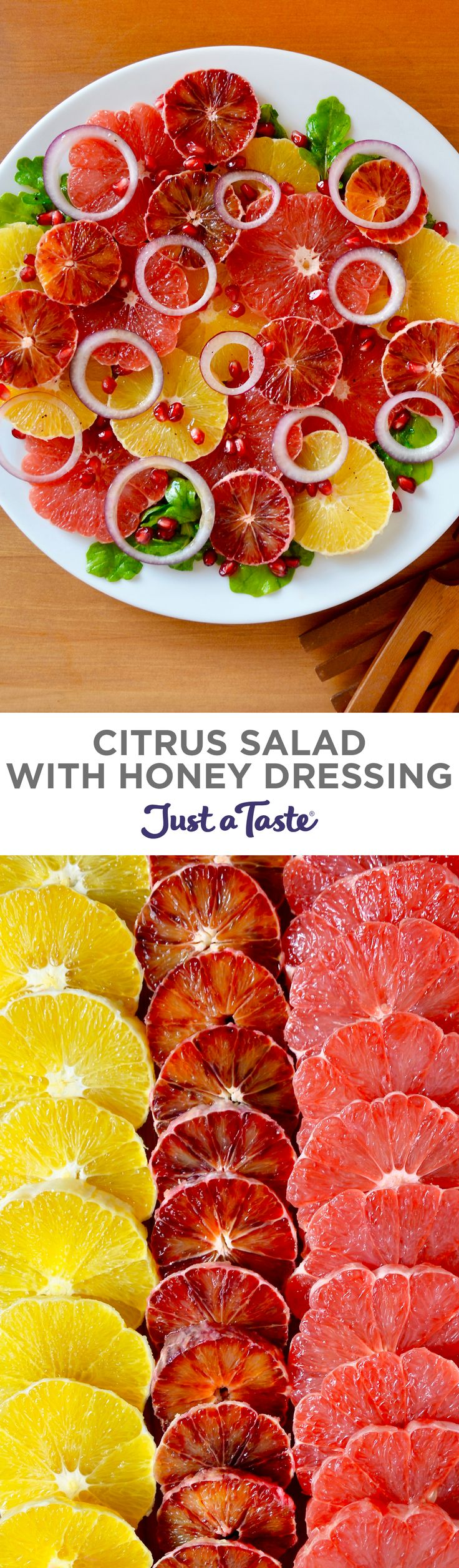 Citrus Salad with Honey Dressing recipe from justataste.com #recipes #healthyeating #Healthy