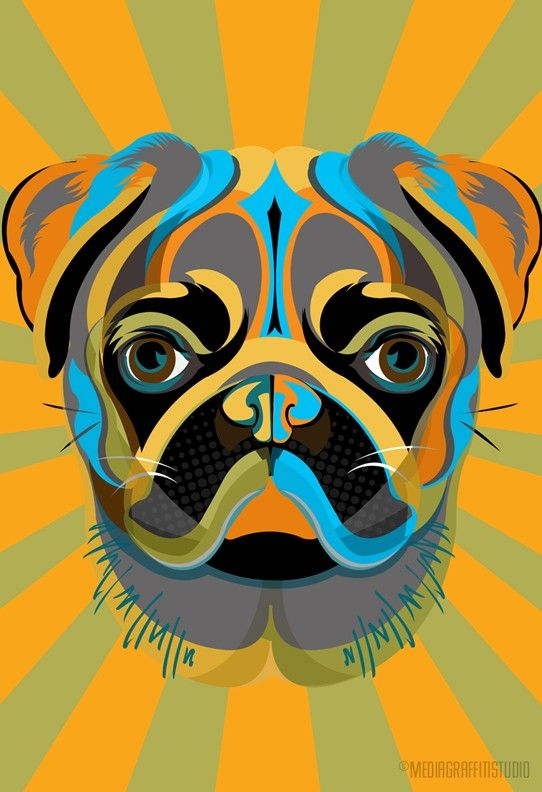 PUG, Pop Art, dog, art print illustration, in blue, green and orange, Poster size print available in multiple sizes.