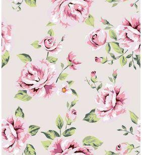 Papel de parede floral com fundo rosa claro e desenhos em tons amarelo, verde, vinho e rosa - Rose 26