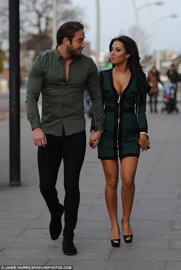 In awe: James 'Lockie' Lock appeared in awe of his new love Yazmin Oukhellou as they arrived at Faces Nightclub in coordinating ensembles filming TOWIE's St Patrick's Day special
