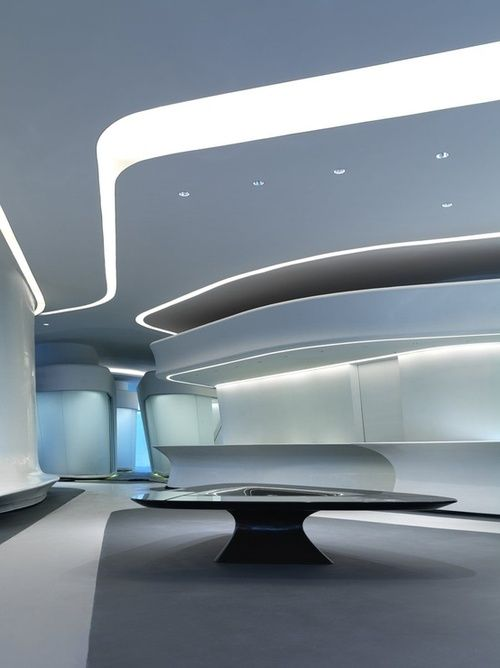 curved ceiling with white light